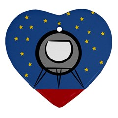 A Rocket Ship Sits On A Red Planet With Gold Stars In The Background Ornament (heart) by Samandel