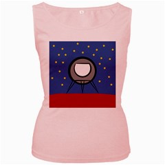 A Rocket Ship Sits On A Red Planet With Gold Stars In The Background Women s Pink Tank Top