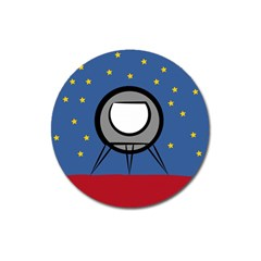 A Rocket Ship Sits On A Red Planet With Gold Stars In The Background Magnet 3  (round)