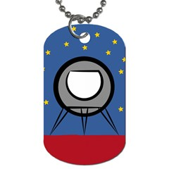 A Rocket Ship Sits On A Red Planet With Gold Stars In The Background Dog Tag (two Sides)