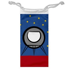 A Rocket Ship Sits On A Red Planet With Gold Stars In The Background Jewelry Bag