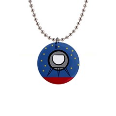 A Rocket Ship Sits On A Red Planet With Gold Stars In The Background Button Necklaces