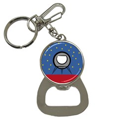 A Rocket Ship Sits On A Red Planet With Gold Stars In The Background Bottle Opener Key Chains