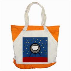 A Rocket Ship Sits On A Red Planet With Gold Stars In The Background Accent Tote Bag by Samandel
