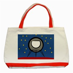 A Rocket Ship Sits On A Red Planet With Gold Stars In The Background Classic Tote Bag (red)