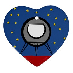 A Rocket Ship Sits On A Red Planet With Gold Stars In The Background Heart Ornament (two Sides) by Samandel