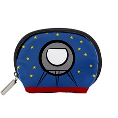 A Rocket Ship Sits On A Red Planet With Gold Stars In The Background Accessory Pouch (small) by Samandel