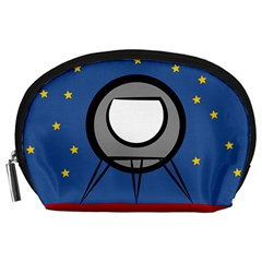 A Rocket Ship Sits On A Red Planet With Gold Stars In The Background Accessory Pouch (large) by Samandel