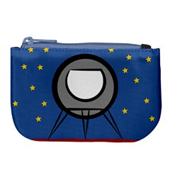 A Rocket Ship Sits On A Red Planet With Gold Stars In The Background Large Coin Purse by Samandel