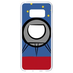 A Rocket Ship Sits On A Red Planet With Gold Stars In The Background Samsung Galaxy S8 White Seamless Case by Samandel