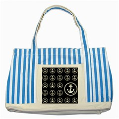 Anchor Pattern Striped Blue Tote Bag