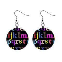 Alphabet Letters Colorful Polka Dots Letters In Lower Case Mini Button Earrings