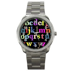 Alphabet Letters Colorful Polka Dots Letters In Lower Case Sport Metal Watch