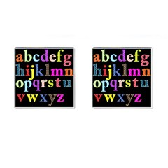 Alphabet Letters Colorful Polka Dots Letters In Lower Case Cufflinks (square) by Samandel