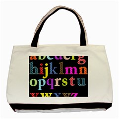 Alphabet Letters Colorful Polka Dots Letters In Lower Case Basic Tote Bag (two Sides) by Samandel