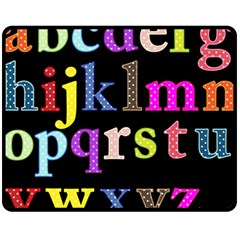 Alphabet Letters Colorful Polka Dots Letters In Lower Case Fleece Blanket (medium)