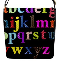 Alphabet Letters Colorful Polka Dots Letters In Lower Case Flap Closure Messenger Bag (s) by Samandel