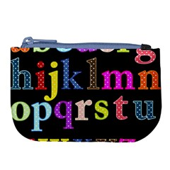 Alphabet Letters Colorful Polka Dots Letters In Lower Case Large Coin Purse by Samandel