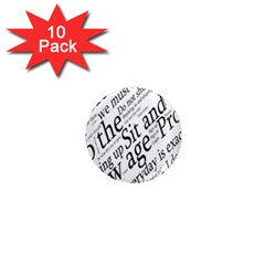 Abstract Minimalistic Text Typography Grayscale Focused Into Newspaper 1  Mini Magnet (10 Pack)