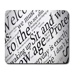 Abstract Minimalistic Text Typography Grayscale Focused Into Newspaper Large Mousepads