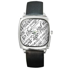 Abstract Minimalistic Text Typography Grayscale Focused Into Newspaper Square Metal Watch