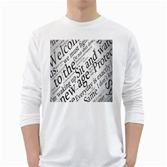 Abstract Minimalistic Text Typography Grayscale Focused Into Newspaper Long Sleeve T Shirt