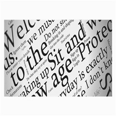 Abstract Minimalistic Text Typography Grayscale Focused Into Newspaper Large Glasses Cloth