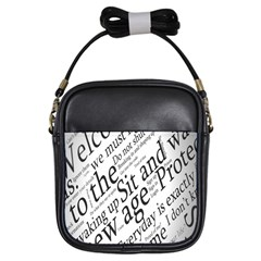 Abstract Minimalistic Text Typography Grayscale Focused Into Newspaper Girls Sling Bag by Samandel