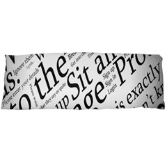Abstract Minimalistic Text Typography Grayscale Focused Into Newspaper Body Pillow Case Dakimakura (two Sides)