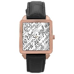 Abstract Minimalistic Text Typography Grayscale Focused Into Newspaper Rose Gold Leather Watch