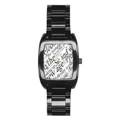Abstract Minimalistic Text Typography Grayscale Focused Into Newspaper Stainless Steel Barrel Watch by Samandel
