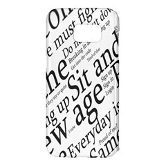 Abstract Minimalistic Text Typography Grayscale Focused Into Newspaper Samsung Galaxy S7 Edge Hardshell Case