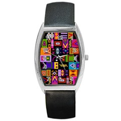 Abstract A Colorful Modern Illustration Barrel Style Metal Watch