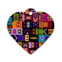 Abstract A Colorful Modern Illustration Dog Tag Heart (one Side)