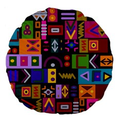 Abstract A Colorful Modern Illustration Large 18  Premium Flano Round Cushions
