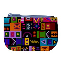 Abstract A Colorful Modern Illustration Large Coin Purse