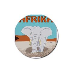 Africa Elephant Animals Animal Rubber Round Coaster (4 Pack)
