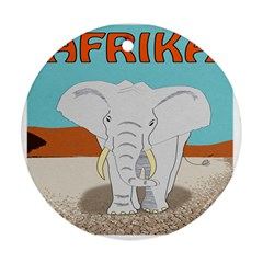 Africa Elephant Animals Animal Round Ornament (two Sides)