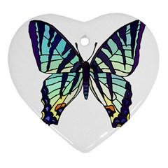 A Colorful Butterfly Heart Ornament (two Sides) by Samandel