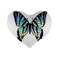 A Colorful Butterfly Standard 16  Premium Heart Shape Cushions