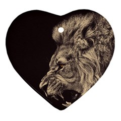 Angry Male Lion Ornament (heart)
