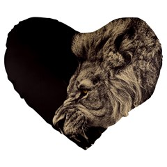 Angry Male Lion Large 19  Premium Flano Heart Shape Cushions