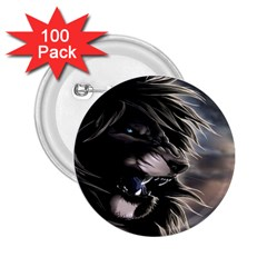Angry Lion Digital Art Hd 2 25  Buttons (100 Pack)