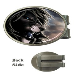 Angry Lion Digital Art Hd Money Clips (oval)  by Samandel