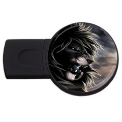 Angry Lion Digital Art Hd Usb Flash Drive Round (2 Gb)