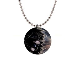 Angry Lion Digital Art Hd Button Necklaces
