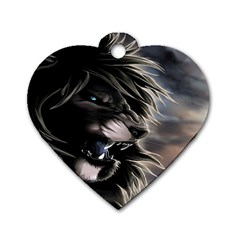 Angry Lion Digital Art Hd Dog Tag Heart (one Side)