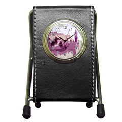 Abstract Painting Edinburgh Capital Of Scotland Pen Holder Desk Clock by Samandel