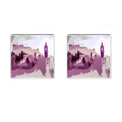 Abstract Painting Edinburgh Capital Of Scotland Cufflinks (square) by Samandel