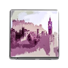 Abstract Painting Edinburgh Capital Of Scotland Memory Card Reader (square 5 Slot)